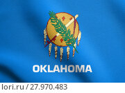 Купить «Flag of Oklahoma waving with fabric texture», фото № 27970483, снято 19 октября 2018 г. (c) PantherMedia / Фотобанк Лори