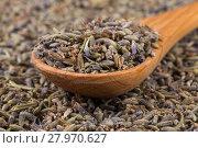 Купить «dried lavender organic tea», фото № 27970627, снято 18 марта 2019 г. (c) PantherMedia / Фотобанк Лори