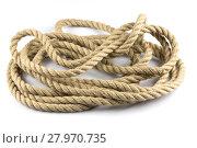 Купить «Twisted thick rope on white», фото № 27970735, снято 19 июля 2019 г. (c) PantherMedia / Фотобанк Лори