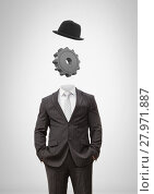 Купить «Headless man with surreal floating hat and cog gear», фото № 27971887, снято 23 июля 2018 г. (c) Wavebreak Media / Фотобанк Лори