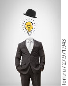 Купить «Headless man with surreal floating hat and light bulb», фото № 27971943, снято 23 июля 2018 г. (c) Wavebreak Media / Фотобанк Лори