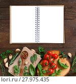 Купить «Raw lasagna pasta, vegetables and herbs with notebook», фото № 27975435, снято 19 декабря 2018 г. (c) PantherMedia / Фотобанк Лори