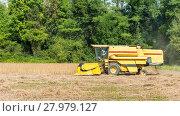 Купить «Combine harvester on a soy field», фото № 27979127, снято 16 июля 2019 г. (c) PantherMedia / Фотобанк Лори