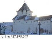 Купить «Architectural landmark, the tower of the fortress wall», фото № 27979347, снято 13 февраля 2018 г. (c) Константин Шишкин / Фотобанк Лори