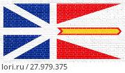 Купить «Newfoundland and Labrador flag, brick wall texture», фото № 27979375, снято 23 апреля 2018 г. (c) PantherMedia / Фотобанк Лори
