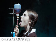 Купить «Portrait of a young girl in school uniform as a vampire woman», фото № 27979935, снято 21 ноября 2018 г. (c) PantherMedia / Фотобанк Лори