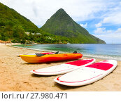 Купить «Beautiful white beach in Saint Lucia, Caribbean Islands», фото № 27980471, снято 16 июня 2019 г. (c) PantherMedia / Фотобанк Лори