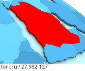 Купить «Saudi Arabia in red on blue globe», фото № 27982127, снято 17 июня 2019 г. (c) PantherMedia / Фотобанк Лори