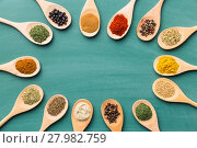 Купить «Various spices in wooden spoons.», фото № 27982759, снято 20 сентября 2019 г. (c) PantherMedia / Фотобанк Лори