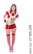 Купить «Smiling girl in santa clause costume», фото № 27985299, снято 26 мая 2018 г. (c) PantherMedia / Фотобанк Лори