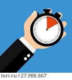 Купить «hand with stopwatch 10 sec 10 minutes or 2 hours», фото № 27988867, снято 18 октября 2018 г. (c) PantherMedia / Фотобанк Лори