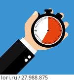 Купить «hand with stopwatch 35 seconds 35 minutes or 7 hours», фото № 27988875, снято 18 октября 2018 г. (c) PantherMedia / Фотобанк Лори