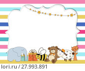 Купить «Pretty frame on color lines , template for baby shower or birthday card, vector format», иллюстрация № 27993891 (c) PantherMedia / Фотобанк Лори