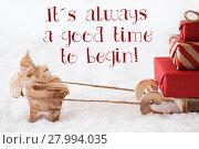 Купить «Reindeer With Sled On Snow, Quote Always Good Time Begin», фото № 27994035, снято 21 июля 2018 г. (c) PantherMedia / Фотобанк Лори