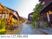Купить «Wooden Houses Nakasendo Trail Magome Morning», фото № 27996459, снято 22 сентября 2018 г. (c) PantherMedia / Фотобанк Лори