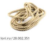 Купить «Twisted thick rope on white», фото № 28002351, снято 19 июля 2019 г. (c) PantherMedia / Фотобанк Лори