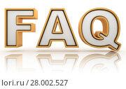 Купить «FAQ - frequently asked question abbreviation, golden letter sign», фото № 28002527, снято 25 июня 2019 г. (c) PantherMedia / Фотобанк Лори