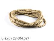 Купить «Twisted thick rope on white», фото № 28004027, снято 19 июля 2019 г. (c) PantherMedia / Фотобанк Лори