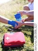 Купить «the child twisted his ankle during a mountain tour. wound broken leg.», фото № 28006327, снято 19 июля 2019 г. (c) PantherMedia / Фотобанк Лори