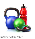 Купить «Red plastic sport bottles and kettle bells weight», фото № 28007027, снято 16 октября 2019 г. (c) PantherMedia / Фотобанк Лори