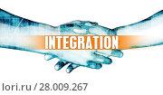 Купить «Integration Concept with Businessmen Handshake on White Background», фото № 28009267, снято 16 октября 2018 г. (c) PantherMedia / Фотобанк Лори