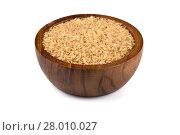 Купить «Rice in wooden bowl», фото № 28010027, снято 18 марта 2019 г. (c) PantherMedia / Фотобанк Лори