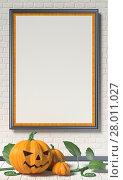 Купить «Jack O Lantern pumpkin, green leafs and mock up blank poster on white wall. 3D», фото № 28011027, снято 27 апреля 2018 г. (c) PantherMedia / Фотобанк Лори