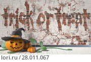 Купить «Trick or treat. Halloween greeting with Jack O Lantern pumpkin and green leafs on wooden floor. 3D», фото № 28011067, снято 19 декабря 2018 г. (c) PantherMedia / Фотобанк Лори