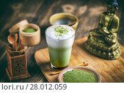 Купить «Matcha tea latte», фото № 28012059, снято 20 сентября 2019 г. (c) PantherMedia / Фотобанк Лори