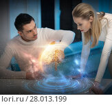 Купить «couple using touch screen over space background», фото № 28013199, снято 17 ноября 2012 г. (c) Syda Productions / Фотобанк Лори