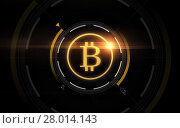 gold bitcoin projection over black background. Стоковое фото, фотограф Syda Productions / Фотобанк Лори