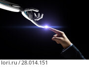 Купить «robot and human hand connecting fingers», фото № 28014151, снято 6 сентября 2016 г. (c) Syda Productions / Фотобанк Лори