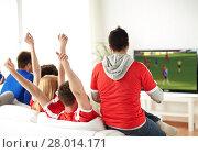 Купить «friends or soccer fans watching game on tv at home», фото № 28014171, снято 14 августа 2016 г. (c) Syda Productions / Фотобанк Лори