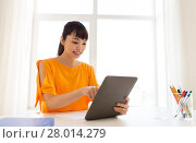 Купить «asian student girl with tablet pc learning at home», фото № 28014279, снято 9 марта 2016 г. (c) Syda Productions / Фотобанк Лори