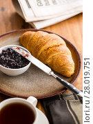 Купить «Tasty buttery croissant with jam.», фото № 28019751, снято 20 февраля 2018 г. (c) PantherMedia / Фотобанк Лори