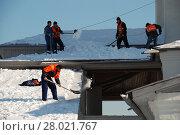 Купить «Рабочие коммунальной службы очищают крышу от скопившегося снега. Церковь Вознесения Господня в Коломенском парке. Город Москва», эксклюзивное фото № 28021767, снято 1 марта 2011 г. (c) lana1501 / Фотобанк Лори