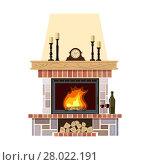Купить «Cozy flaming fireplace», иллюстрация № 28022191 (c) PantherMedia / Фотобанк Лори