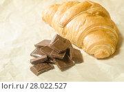 Купить «Tiles chocolate with a croissant», фото № 28022527, снято 20 февраля 2018 г. (c) PantherMedia / Фотобанк Лори