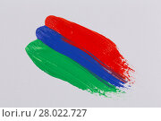 Купить «Acrylic paint colorful brush strokes», фото № 28022727, снято 18 марта 2019 г. (c) PantherMedia / Фотобанк Лори