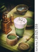 Купить «Green tea matcha latte», фото № 28025559, снято 20 сентября 2019 г. (c) PantherMedia / Фотобанк Лори