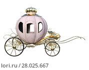 Купить «3D Rendering Cinderella Carriage on White», фото № 28025667, снято 24 мая 2018 г. (c) PantherMedia / Фотобанк Лори