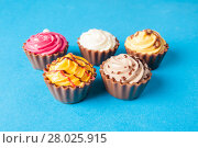 Купить «Colorful cupcakes.  Chocolate Cupcake», фото № 28025915, снято 17 октября 2018 г. (c) PantherMedia / Фотобанк Лори