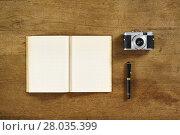 Купить «book wood board photo filler camera», фото № 28035399, снято 22 июля 2019 г. (c) PantherMedia / Фотобанк Лори