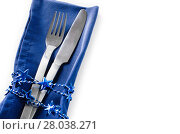 Купить «Christmas table place setting. Holidays background», фото № 28038271, снято 19 декабря 2018 г. (c) PantherMedia / Фотобанк Лори