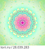Купить «Geometric seamless background. Concentric circle ornament, abstract blossom in pink, violet, orange, light blue and yellow shades on light green, delicate and dreamy.», фото № 28039283, снято 20 июля 2018 г. (c) PantherMedia / Фотобанк Лори