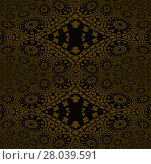 Купить «Abstract geometric seamless background. Regular golden ornaments with concentric circles and diamond pattern on black, ornate and dreamy.», фото № 28039591, снято 21 января 2019 г. (c) PantherMedia / Фотобанк Лори