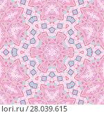 Купить «Abstract geometric seamless background. Regular ornament with pink and violet floral elements and light blue diamond pattern, kaleidoscope.», фото № 28039615, снято 19 марта 2018 г. (c) PantherMedia / Фотобанк Лори