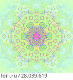 Купить «Abstract geometric seamless background, kaleidoscope. Regular ornament pastel multicolored, delicate, centered and blurred.», фото № 28039619, снято 19 марта 2018 г. (c) PantherMedia / Фотобанк Лори