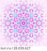 Купить «Abstract geometric seamless background. Regular floral ornament pink, violet and turquoise, centered and blurred.», фото № 28039627, снято 20 марта 2019 г. (c) PantherMedia / Фотобанк Лори