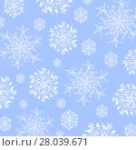 Купить «Winter background. Abstract snowflakes pattern white on pastel blue, delicate and dreamy.», иллюстрация № 28039671 (c) PantherMedia / Фотобанк Лори